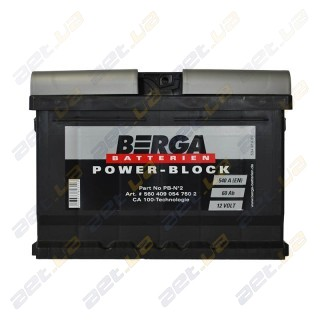 Berga Power 60Ah R+ 540A (низкобазовый)