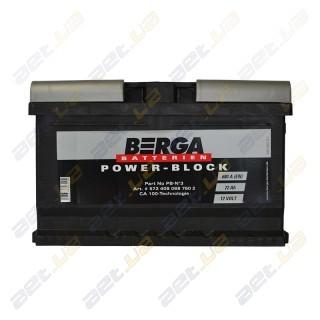 Berga Power 72Ah R+ 680A (низкобазовый)