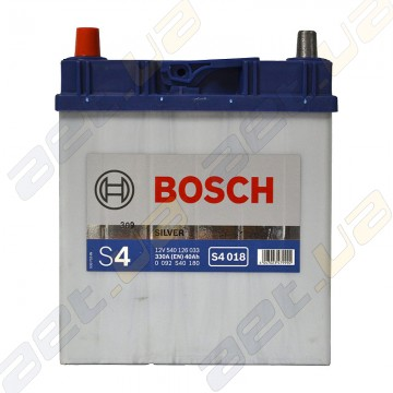 Аккумулятор Bosch S4 Silver 40Ah JL+ 330A (EN) (тонкая клемма)