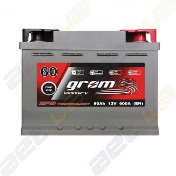 Аккумулятор Grom Battery 60Ah 600A R+ (EN) EFB