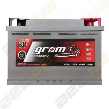 Аккумулятор Grom Battery 80Ah 800A R+ (EN) EFB
